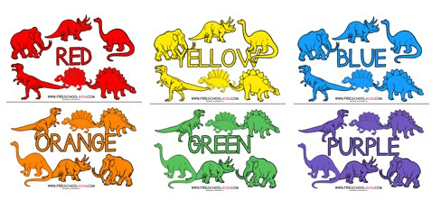 Dinosaur Color Classification Cards