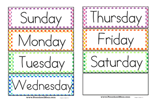 Days Of The Week Wordwall Cards