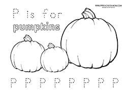 Pumpkin Preschool Printables P Is For Pumpkin Worksheet