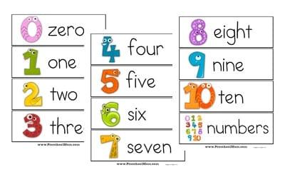 Number Names Worksheets printable numbers 1 to 10 : Number Preschool Printables -
