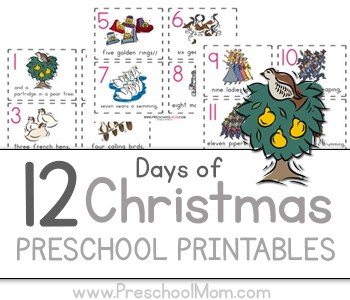 image relating to 12 Days of Christmas Images Printable called 12 Times of Xmas Preschool Printables - Preschool Mother