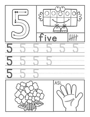 Preschool Number Worksheets on Asl Worksheets