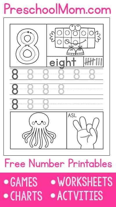 preschool number worksheets preschool mom. Black Bedroom Furniture Sets. Home Design Ideas