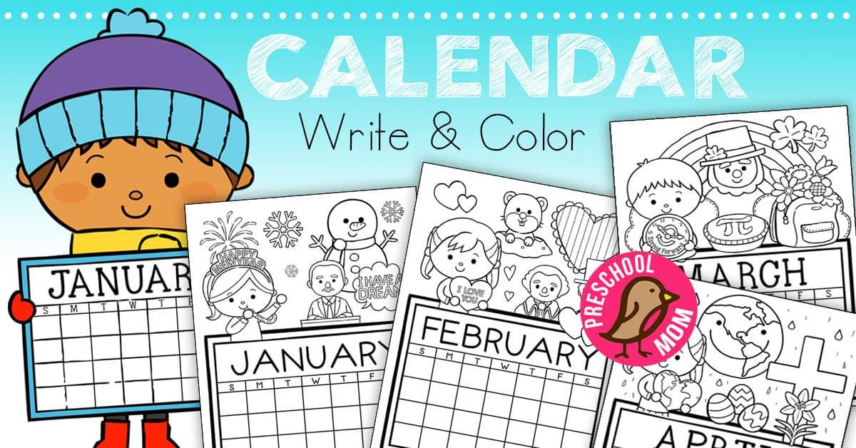 Kindergarten Calendar S S Worksheets : Preschool monthly calendar printables
