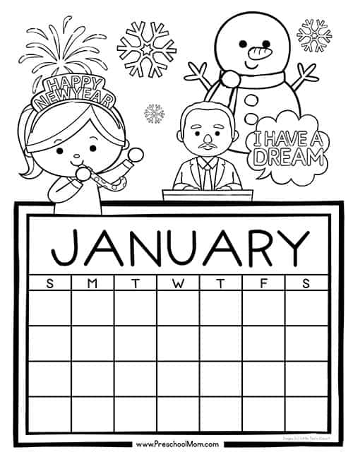 Preschool Monthly Calendar Printables January Coloring Pages For Preschool