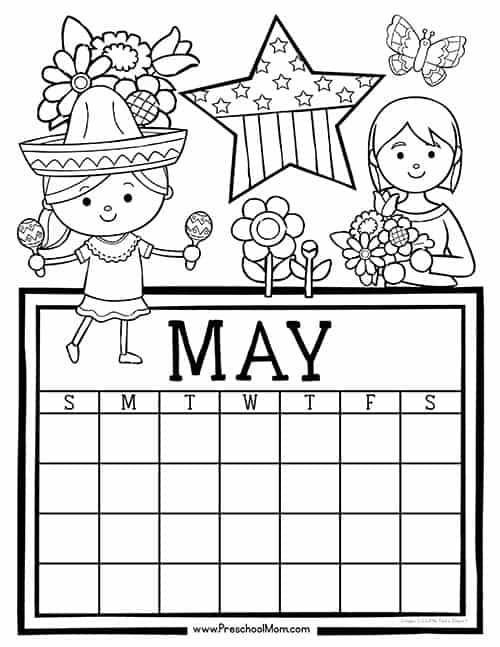 May Calendar Preschool : Preschool monthly calendar printables