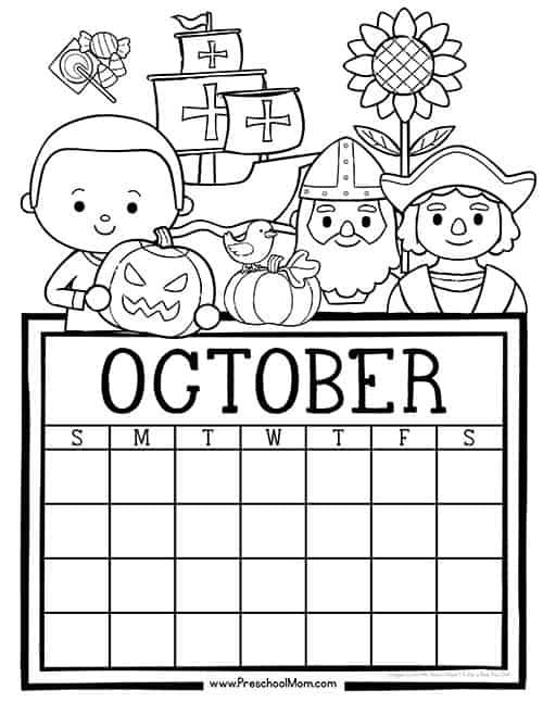 October Calendar Kindergarten : Preschool monthly calendar printables