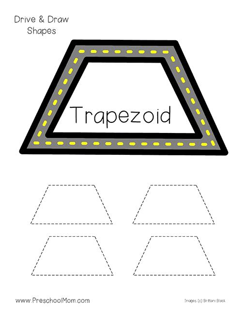 Drive Trace Shape Printables on Preschool Shapes
