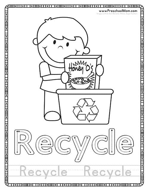 Recycle Earth Day Coloring Page