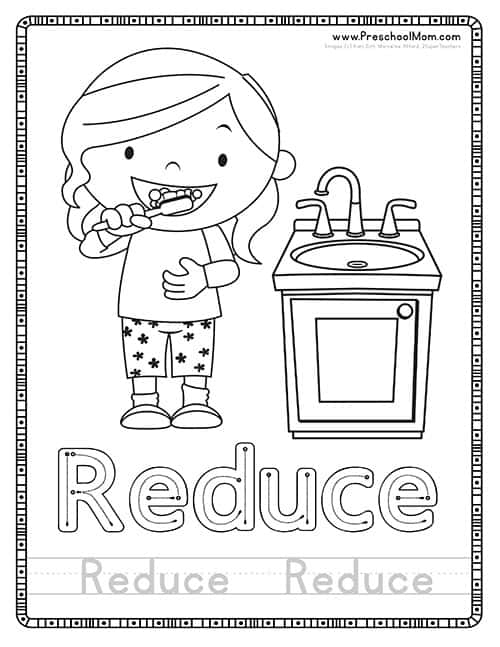 Reduce Earth Day Coloring Page