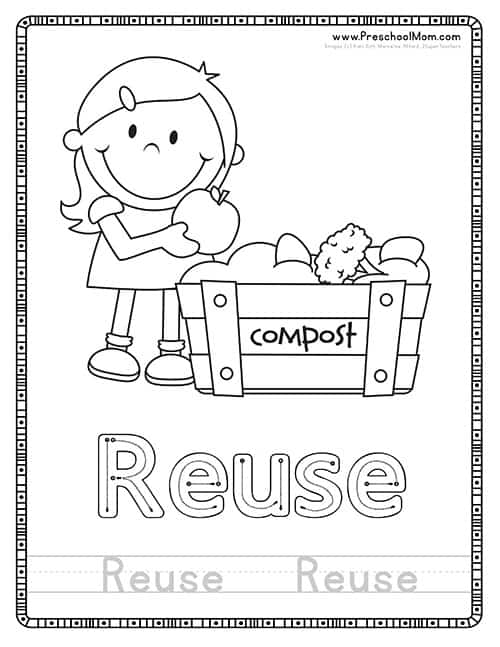 Reuse Earth Day Coloring Page