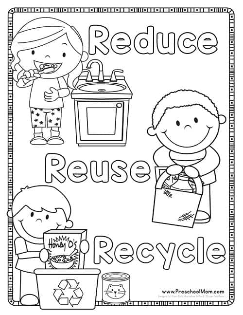 Reduce Reuse Recycle Coloring Page